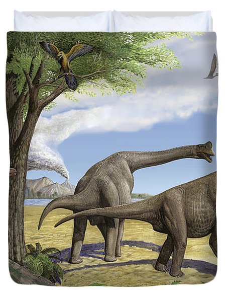 A Raptor Stalks A Pair Of Grazing Duvet Cover by Sergey Krasovskiy