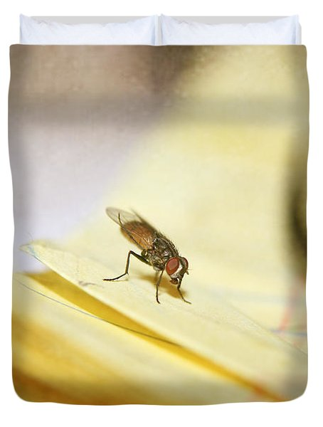 Duvet Cover featuring the photograph A Red Eyes Fly On The Yellow Paper by Ester  Rogers
