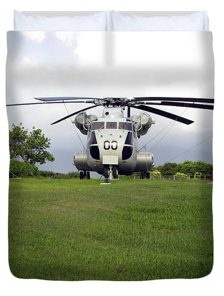 A Rh-53d Sea Stallion Helicopter Duvet Cover by Michael Wood