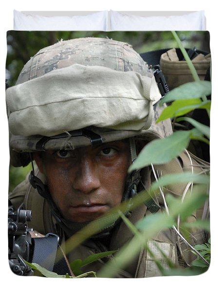 A Rifleman Conceals Himself Duvet Cover by Stocktrek Images