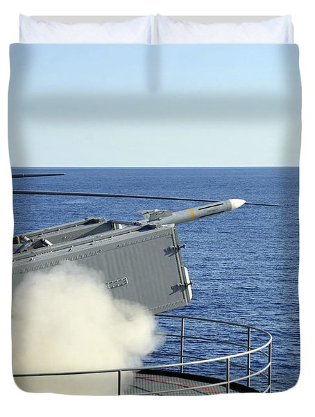 A Rim-7 Sea Sparrow Is Launched Duvet Cover by Stocktrek Images