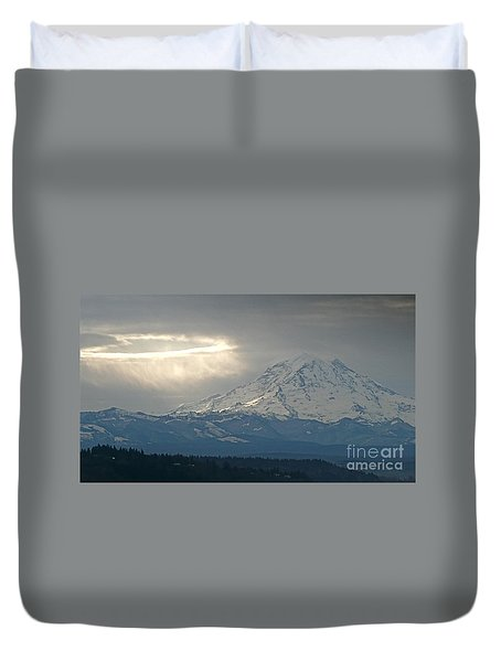 A Ring Of Bright Light Beside Mount Rainier Duvet Cover by Sean Griffin