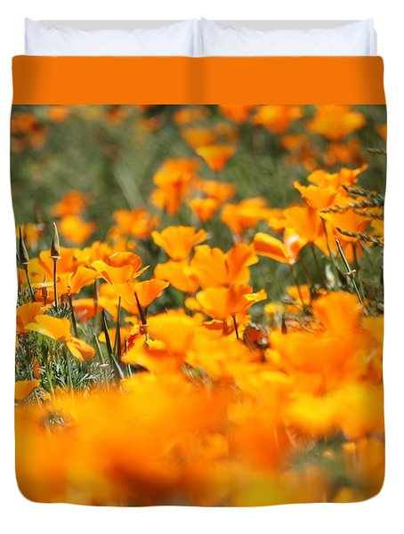 A River Of Poppies  Duvet Cover by Amy Gallagher
