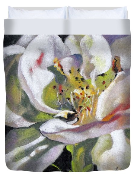 Duvet Cover featuring the painting A Rose By Any Other Name by Rae Andrews
