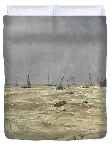 A Rough Day At Leigh Duvet Cover by William Pye