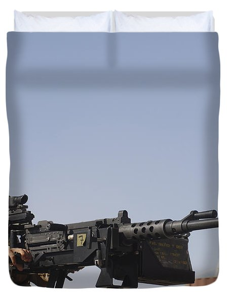 A Royal Marine Manning A .50 Caliber Duvet Cover by Andrew Chittock