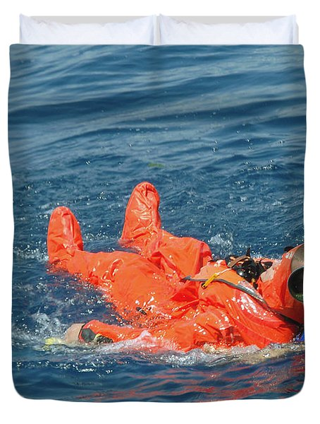 A Sailor Rescued By A Diver Duvet Cover by Stocktrek Images