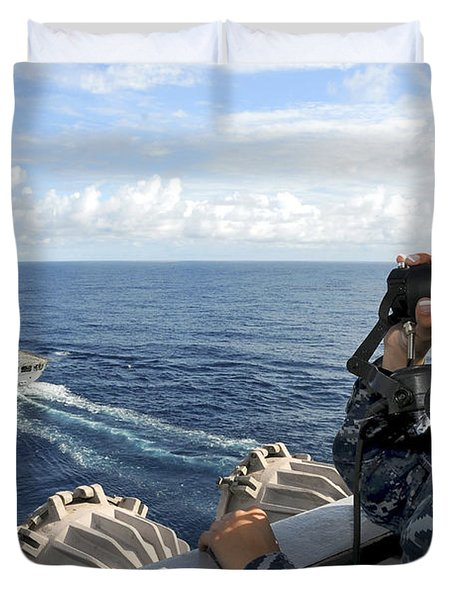 A Sailor Stands Forward Lookout Watch Duvet Cover by Stocktrek Images