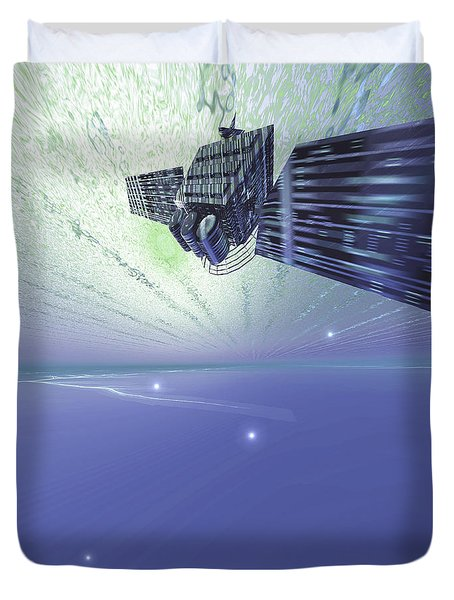 A Satellite Out In The Vast Beautiful Duvet Cover by Corey Ford