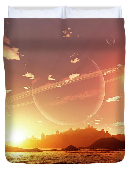A Scene On A Distant Moon Orbiting Duvet Cover by Brian Christensen