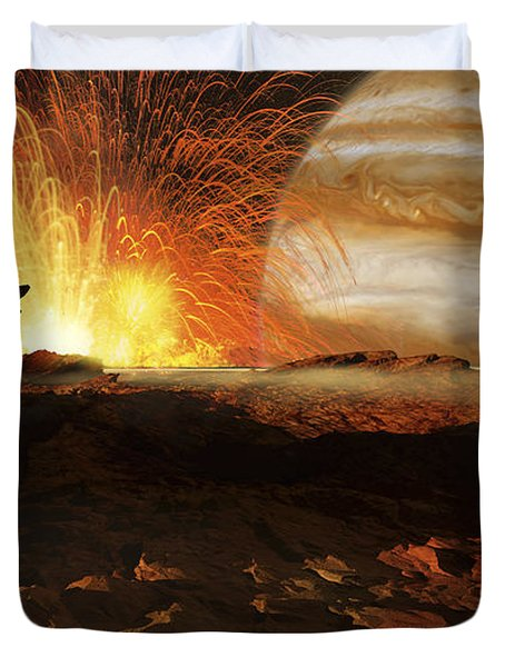A Scene On Jupiters Moon, Io, The Most Duvet Cover by Ron Miller