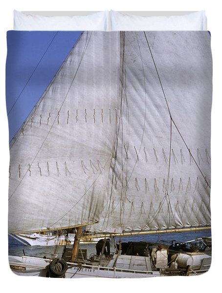 A Skipjack For Oyster Fishing Sails Duvet Cover