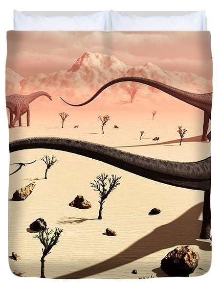 A Small Group Of Diplodocus Sauropod Duvet Cover by Mark Stevenson