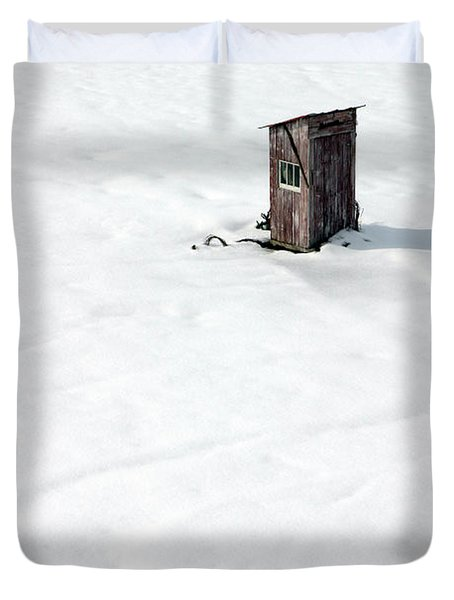 Duvet Cover featuring the photograph A Snowy Path by Karen Lee Ensley