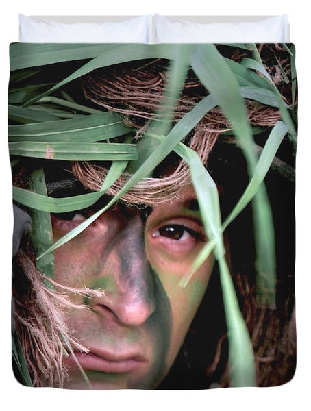 A Soldier Camouflaged In His Ghillie Duvet Cover by Stocktrek Images