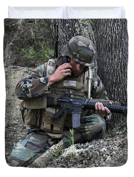 A Soldier Communicates His Position Duvet Cover by Stocktrek Images