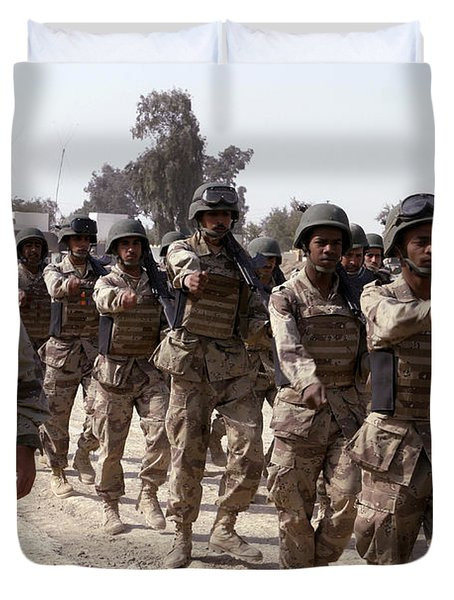 A Soldier Marches His Troops Duvet Cover by Stocktrek Images