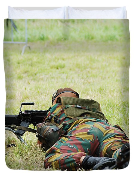 A Soldier Of The Belgian Army On Guard Duvet Cover by Luc De Jaeger