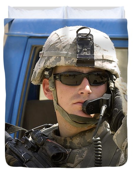 A Soldier Talking Via Radio Duvet Cover by Stocktrek Images
