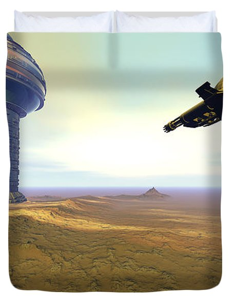 A Spacecraft Nears A Spaceport Duvet Cover by Corey Ford