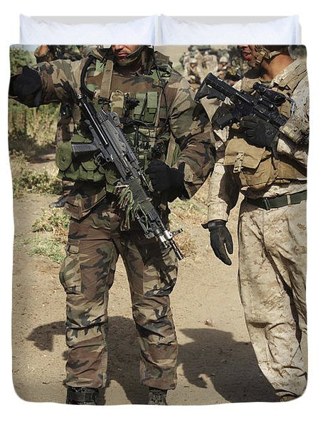 A Spanish Marine Points Out An Duvet Cover by Stocktrek Images