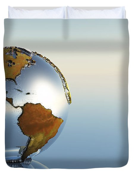 A Sphere Holding North And South Duvet Cover by Corey Ford