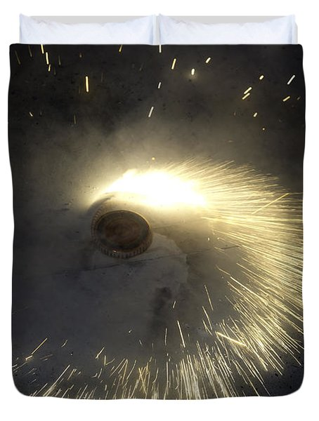 A Spinning Firecracker During Diwali Celebrations Duvet Cover by Ashish Agarwal