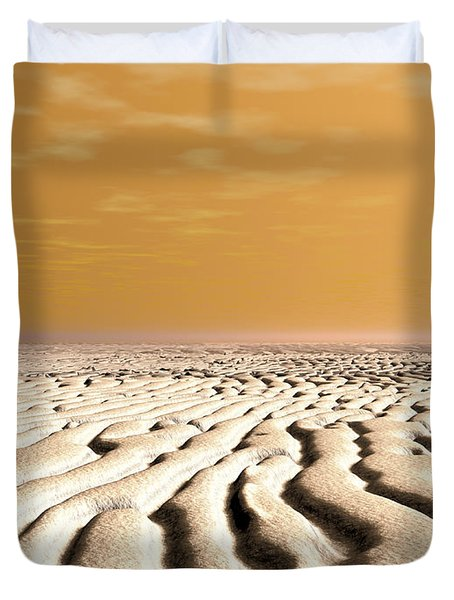A Spring Sunrise Over The Surface Duvet Cover by Walter Myers
