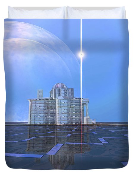 A Star Shines On Alien Architecture Duvet Cover by Corey Ford