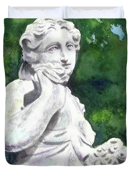 A Statue At The Wellers Carriage House -1 Duvet Cover by Yoshiko Mishina