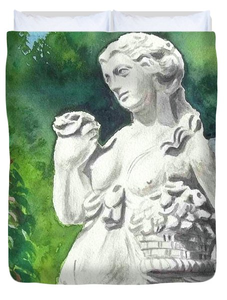 Duvet Cover featuring the painting A Statue At The Wellers Carriage House -2 by Yoshiko Mishina