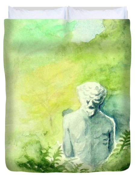 Duvet Cover featuring the painting A Statue At The Wellers Carriage House -5 by Yoshiko Mishina