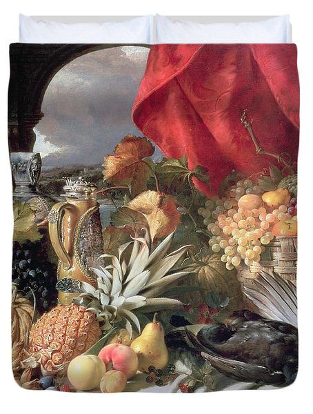 A Still Life Of Game Birds And Numerous Fruits Duvet Cover by William Duffield