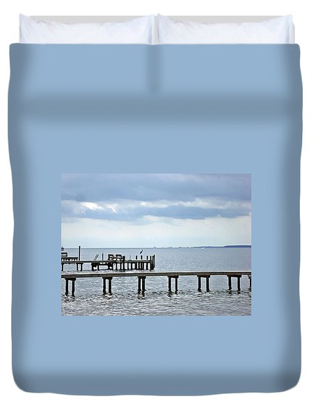 A Stormy Day On The Pamlico River Duvet Cover