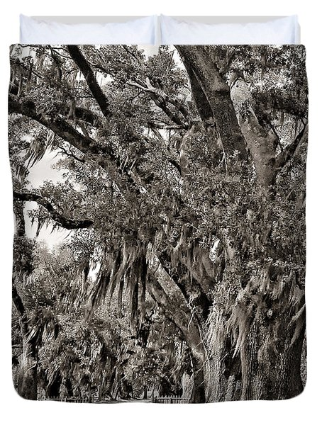 A Stroll Through Time Monochrome Duvet Cover by Steve Harrington