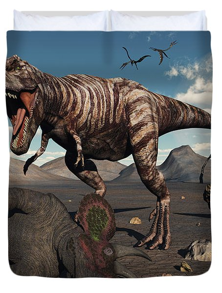 A T. Rex Is About To Make A Meal Duvet Cover by Mark Stevenson