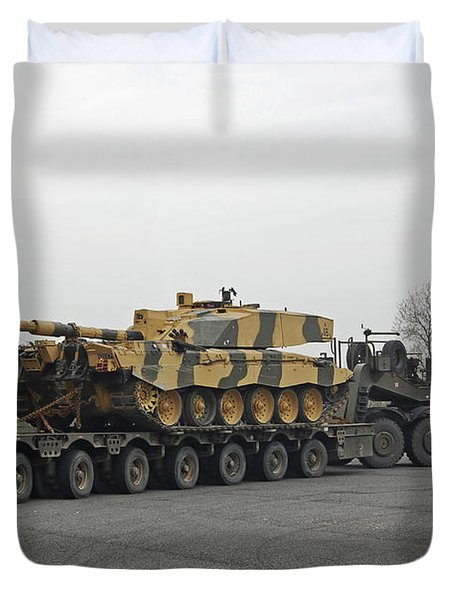 A Tank Transporter Hauling A Challenger Duvet Cover by Andrew Chittock