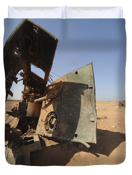 A Tracked Artillery Vehicle Destroyed Duvet Cover by Andrew Chittock