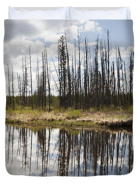 Duvet Cover featuring the photograph A Tranquil River With A Reflection by Susan Dykstra