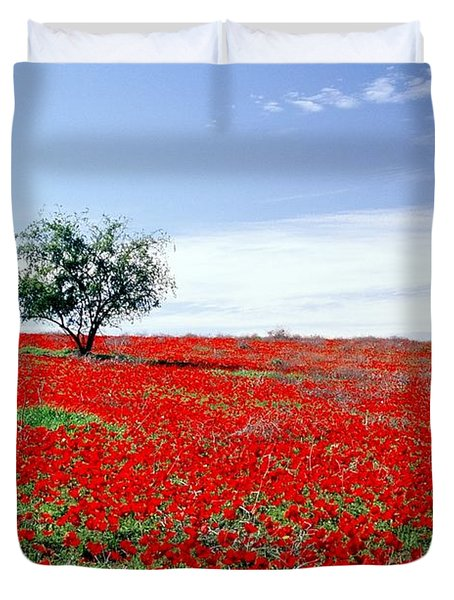A Tree In A Red Sea Duvet Cover