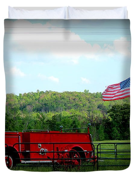 Duvet Cover featuring the photograph A Tribute To The Fireman by Kathy  White