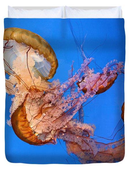 A Trio Of Jellyfish Duvet Cover by Kristin Elmquist
