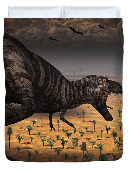 A Tyrannosaurus Rex Spots Two Passing Duvet Cover by Mark Stevenson