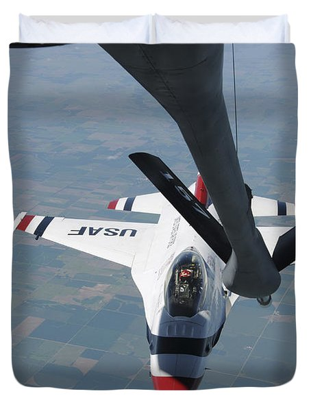 A U.s. Air Force Thunderbird Pilot Duvet Cover by Stocktrek Images