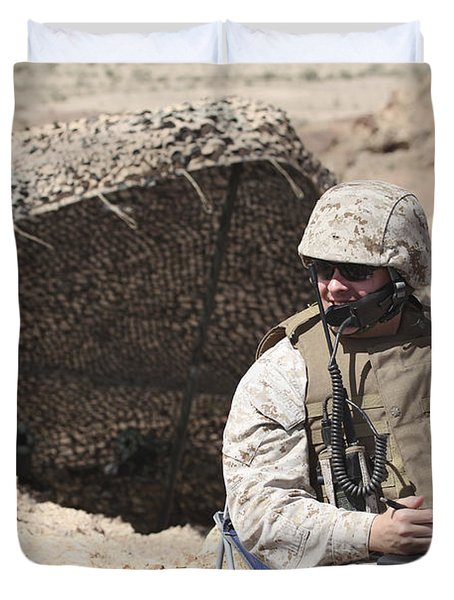 A U.s. Marine Communicates With Close Duvet Cover by Stocktrek Images