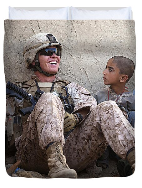 A U.s. Marine Jokes With Afghan Duvet Cover by Stocktrek Images