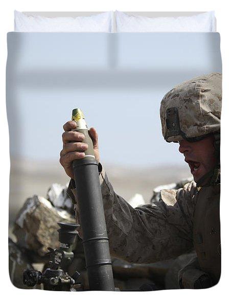 A U.s. Marine Loads A Mortar Duvet Cover by Stocktrek Images