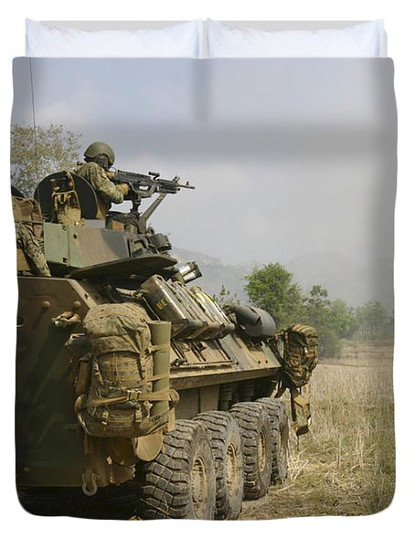 A U.s. Marine Uses An M-240b Machine Duvet Cover by Stocktrek Images