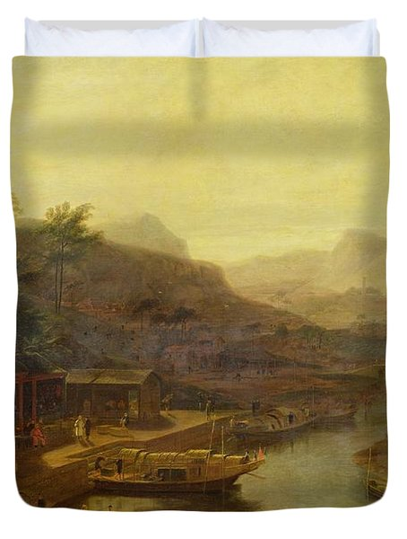 A View In China - Cultivating The Tea Plant Duvet Cover by William Daniell