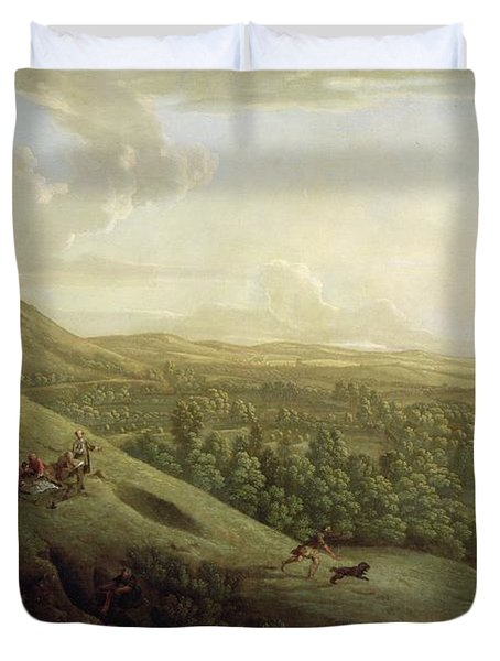A View Of Boxhill - Surrey Duvet Cover by George Lambert